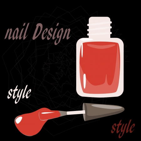 ceremonial makeup: bottle nail polish on the black background  vector Illustration