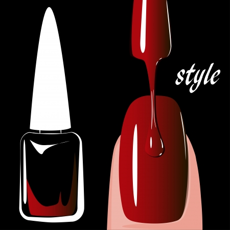 finger nails: Nail polish red, on black background  vector