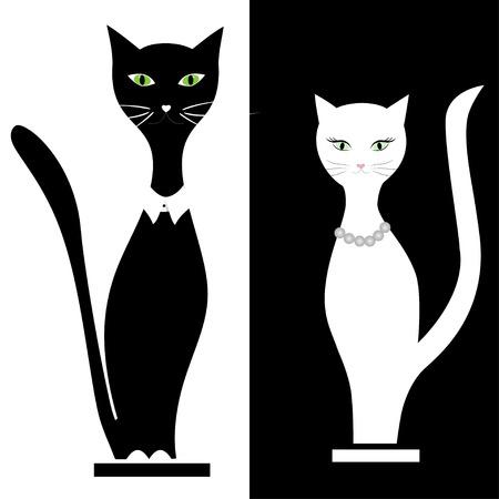 Cat boy and girl cat, love, vector