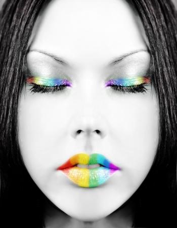 face paint: Rainbow face