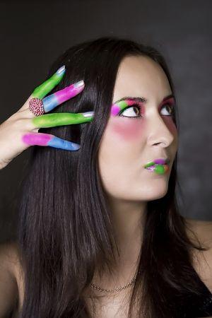 sunburned: Colored fingers Stock Photo