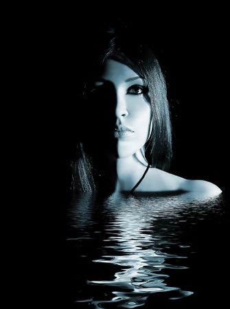 mystique: Gothic lady in the water Stock Photo