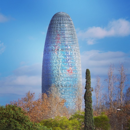 modern: The Torre Agbar building in Barcelona, Spain, expressing modern architecture