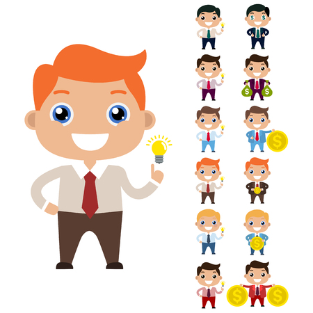Cartoon set of cute businessman or managers character in different poses with money isolated on white. Flat. Bags with money. The path to success and wealth. Finance. Thumbs up. Gold coin.