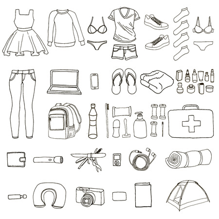 article: Necessary things for the world tour. Big hand drawn set of travel article. Clothing. Equipment. personal hygiene. First aid kit. Sleeping bag. Tent. Backpack. Trip around the world