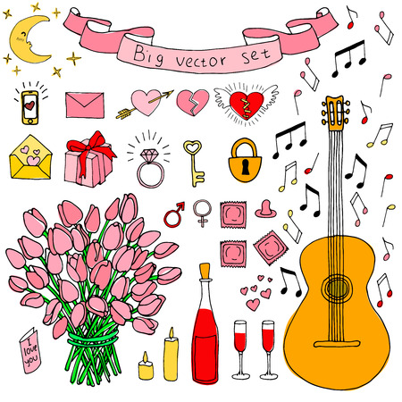 condoms: Big doodle set. Love and feelings collection. Tulips. Guitar and notes. Bottle of wine and glasses. Condoms.