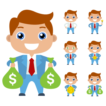 path to wealth: Cartoon cute businessman or managers character in different poses with money. Flat. Idea. Money. The path to success and wealth. Creative man in a blue suit. Bags with money isolated on white. Illustration