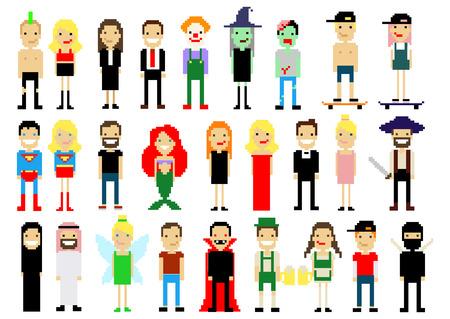 famosos: Conjunto de diversos personajes pixel art aislados en blanco. Ilustración del vector. iconos de la gente. Vectores