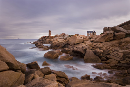 ploumanach: Lighthouse Ploumanach, pink granite coast in Brittany Stock Photo