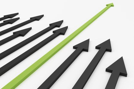 leadership abstract: 3D render of arrows pointing in one direction with green one longer, suggesting success, achievement, etc.