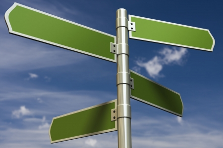 3D render of signs in front of blue sky (put in your own text) Stock Photo - 5880764