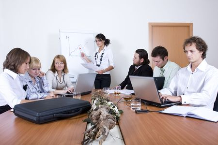 Young team working in a conference room Stock Photo