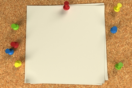 Note and pushpins on a cork board Stock Photo - 6001331