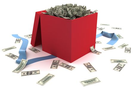 Open gift box full of money Stock Photo - 6087864