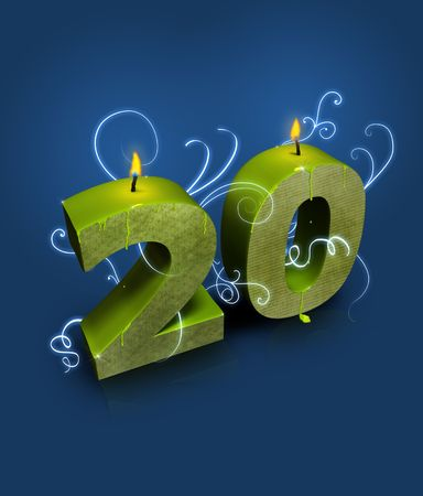 �20: Modern typography number 20 appropriate for 20th birthday