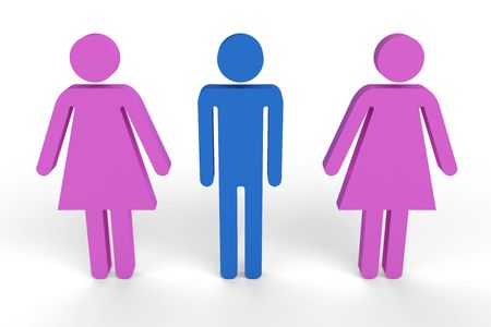 Male figure in between two female figures Stock Photo