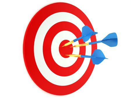 Blue darts in red and white target photo