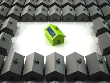 paneles solares: Ecol�gica moderna casa permanente fuera de los dem�s