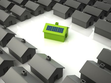 Modern eco house with solar panels standing out