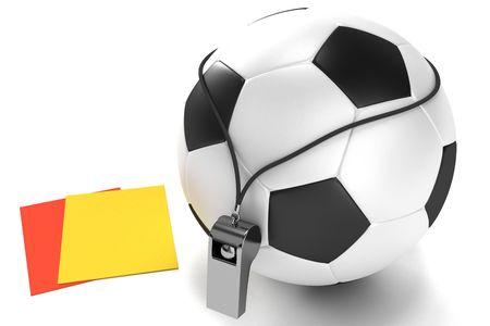 Balón de fútbol, silbato y tarjetas Foto de archivo - 6913059