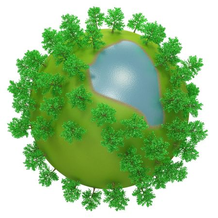 Little round planet with oversized trees and lake photo