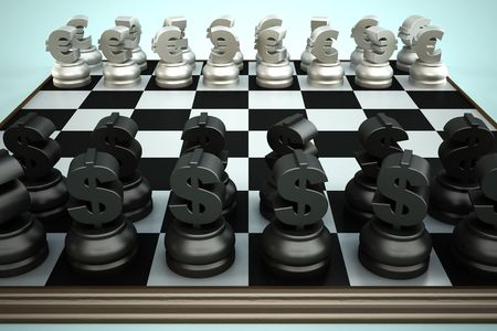 Chessboard with Euro and Dollar currency symbols photo