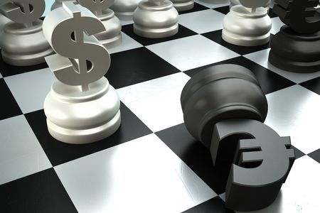 A fight between dollar end euro chess pieces photo