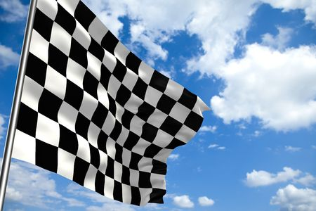 to finish: Waving checkered flag in front of a cloudy sky Stock Photo