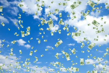 Tons of hundred euro bills floating in the air