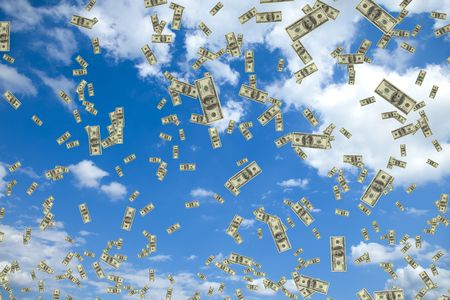 Tons of hundred dollar bills floating in the air Stock Photo
