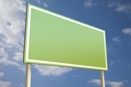 Green sign in front of a blue sky (insert your own text)