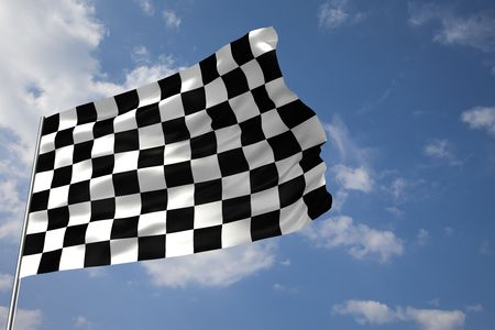 Waving checkered flag in front of a cloudy sky Stock Photo