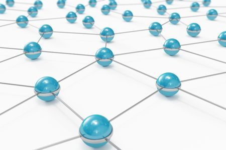 Network made out of blue balls