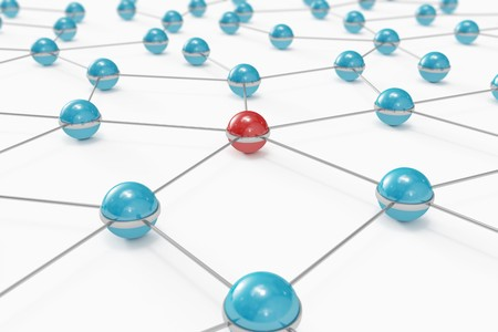 Abstract network made out of balls with red one standing out