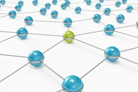Abstract network made out of balls with green one standing out Stock Photo - 8183577