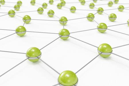 Abstract network made out of connected green balls Stock Photo - 8183574