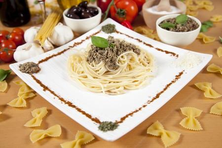 Delicious italian pasta with pumpkin pesto Stock Photo