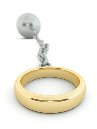 Wedding ring chained to a heavy ball Stock Photo - 8183570