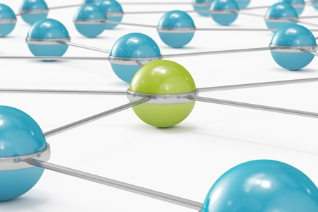 Network made out of blue balls with green one standing out