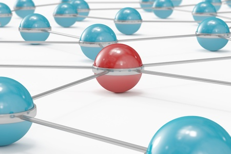 Network made out of blue balls with red one standing out