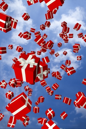 Lots of red gift boxes flying in the air Stock Photo