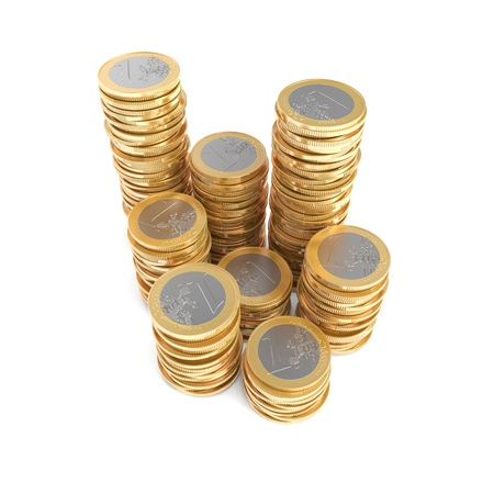 Stacks of one Euro coins Stock Photo