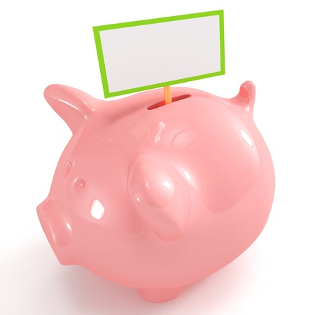 Cute piggy bank with blank sign Stock Photo - 8564944