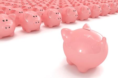 Piggy bank facing hundreds of other piggy banks Stock Photo