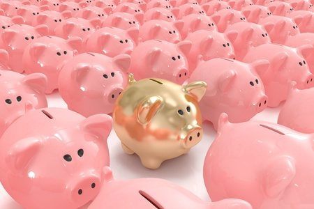 Golden piggy bank standing out from others photo