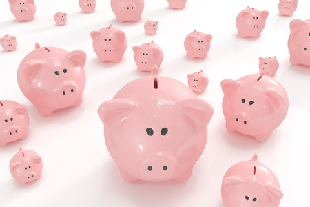 small group of objects: Bunch of different sized piggy banks Stock Photo