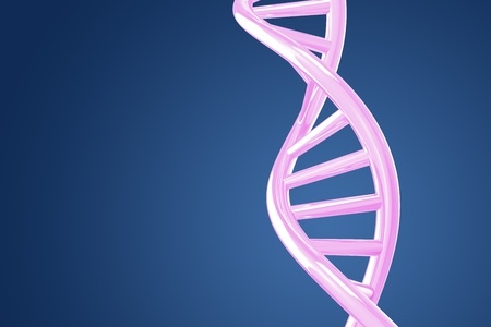 Purple DNA helix on a blue background photo