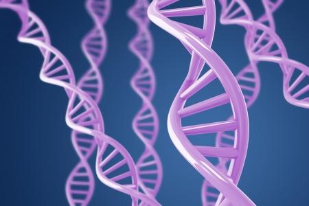 cromosoma: P�rpuras de H�lices de ADN, sobre un fondo azul con DOF superficial Foto de archivo
