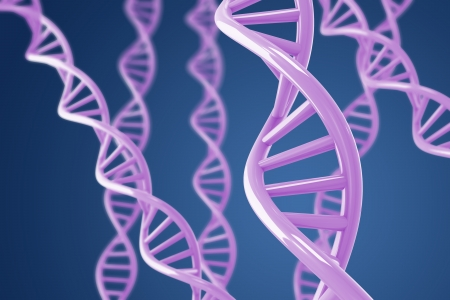 Purple DNA helixes on a blue background with shallow DOF Stock Photo - 8773431