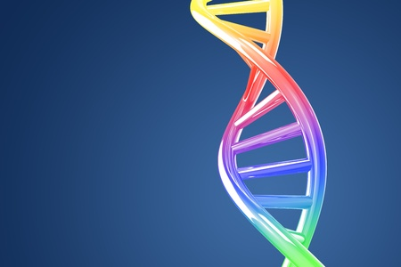 Colorful DNA helix on a blue background photo